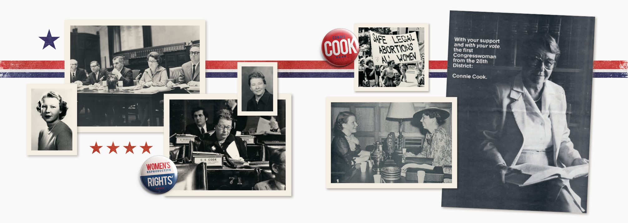 TOP LEFT: Connie Cook in an Assembly meeting BOTTOM LEFT: Cook on the floor of the New York State Assembly BOTTOM RIGHT: Connie Cook (left) and Eleanor Roosevelt